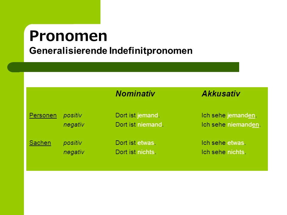Pronomen Generalisierende Indefinitpronomen