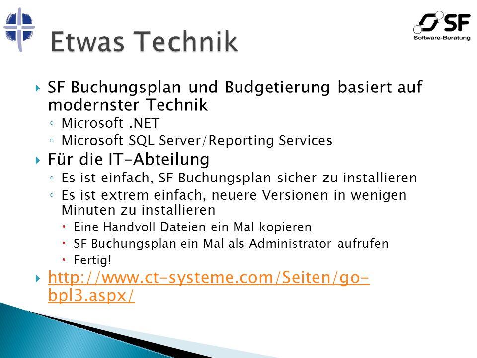 Etwas Technik SF Buchungsplan und Budgetierung basiert auf modernster Technik. Microsoft .NET. Microsoft SQL Server/Reporting Services.