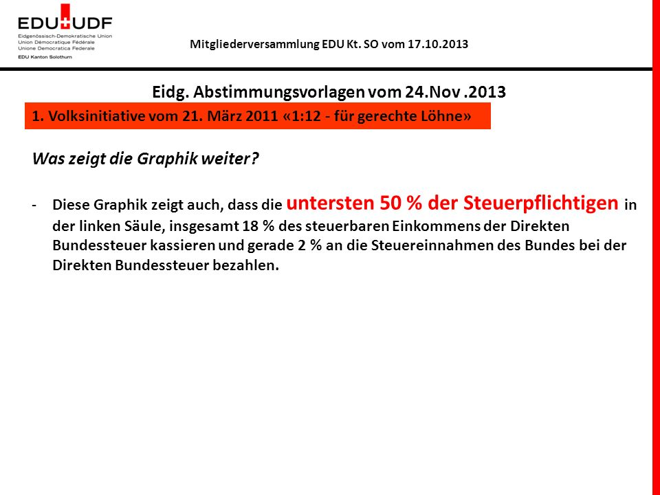 Eidg. Abstimmungsvorlagen vom 24.Nov .2013