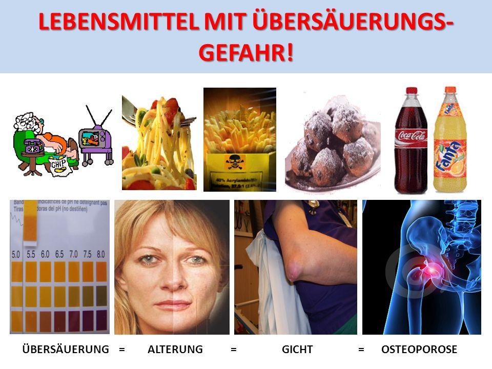 LEBENSMITTEL MIT Übersäuerungs- GEFAHR!