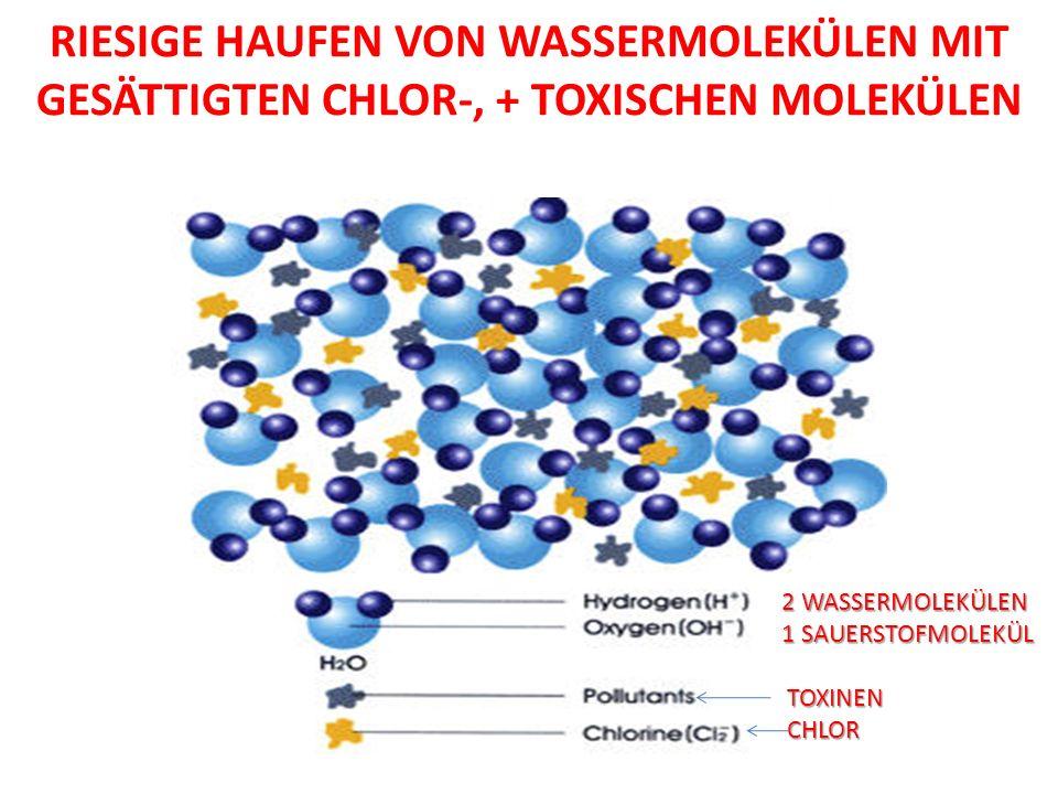 Riesige Haufen von Wassermolekülen mit gesättigten Chlor-, + TOXISCHEn moleKÜlen