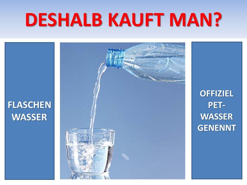 DESHALB KAUFT MAN FLASCHEN WASSER OFFIZIEL PET-WASSER GENENNT