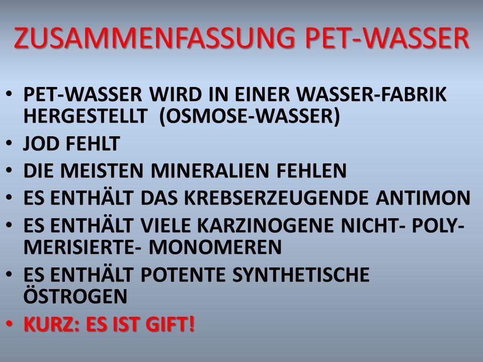 Zusammenfassung PET-Wasser