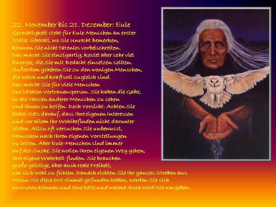 22. November bis 21. Dezember: Eule Gerechtigkeit steht für Eule-Menschen an erster Stelle. Überall, wo Sie Unrecht bemerken,