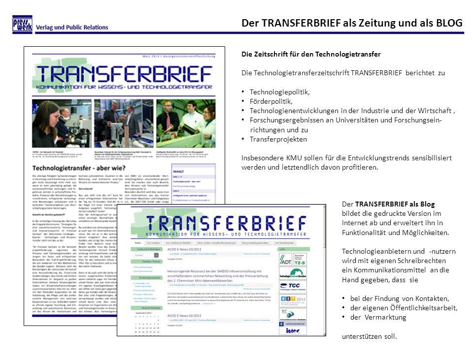 Der TRANSFERBRIEF als Zeitung und als BLOG