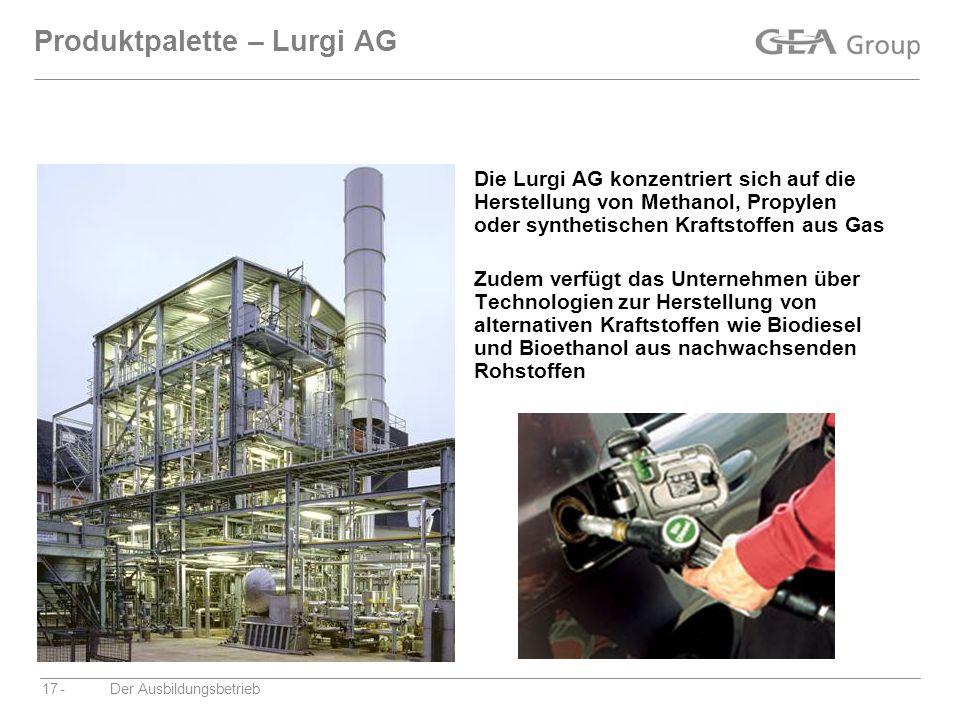 Produktpalette – Lurgi AG