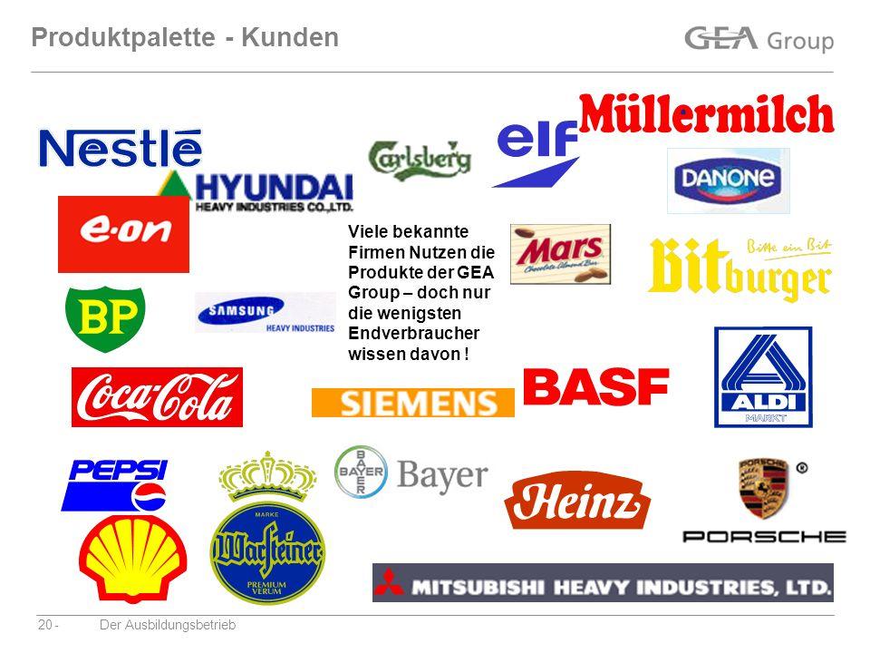 Produktpalette - Kunden