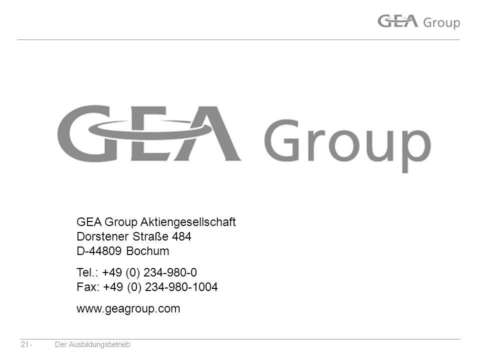 GEA Group Aktiengesellschaft Dorstener Straße 484 D-44809 Bochum