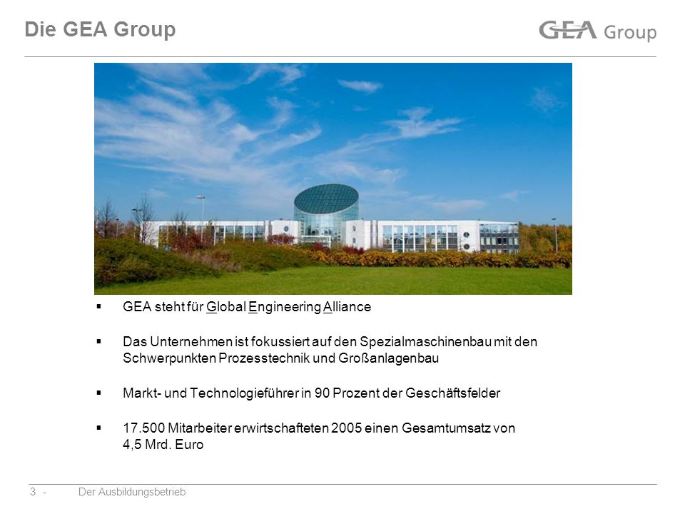 Die GEA Group GEA steht für Global Engineering Alliance