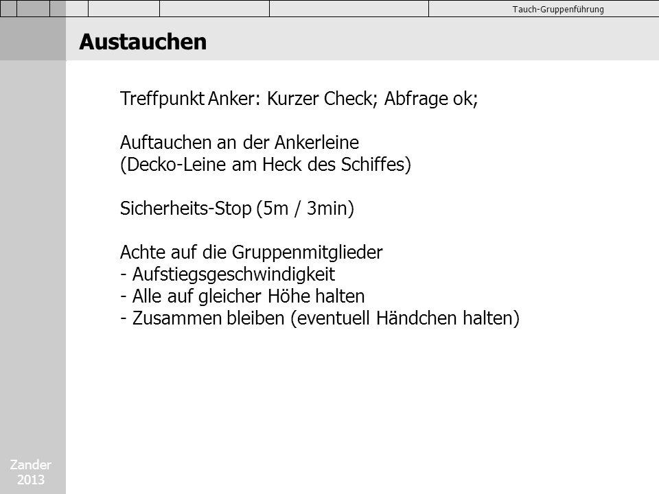 Austauchen Treffpunkt Anker: Kurzer Check; Abfrage ok;