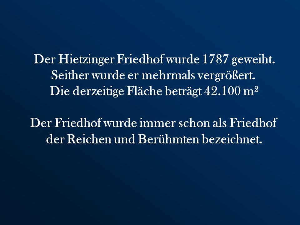 Der Hietzinger Friedhof wurde 1787 geweiht.