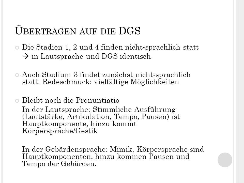 Übertragen auf die DGS Die Stadien 1, 2 und 4 finden nicht-sprachlich statt.  in Lautsprache und DGS identisch.