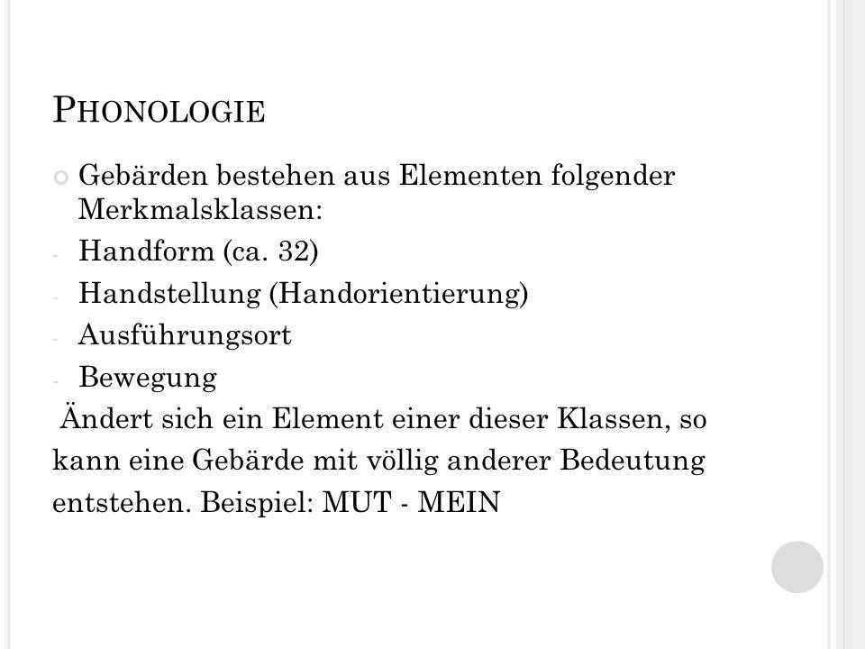 Phonologie Gebärden bestehen aus Elementen folgender Merkmalsklassen: