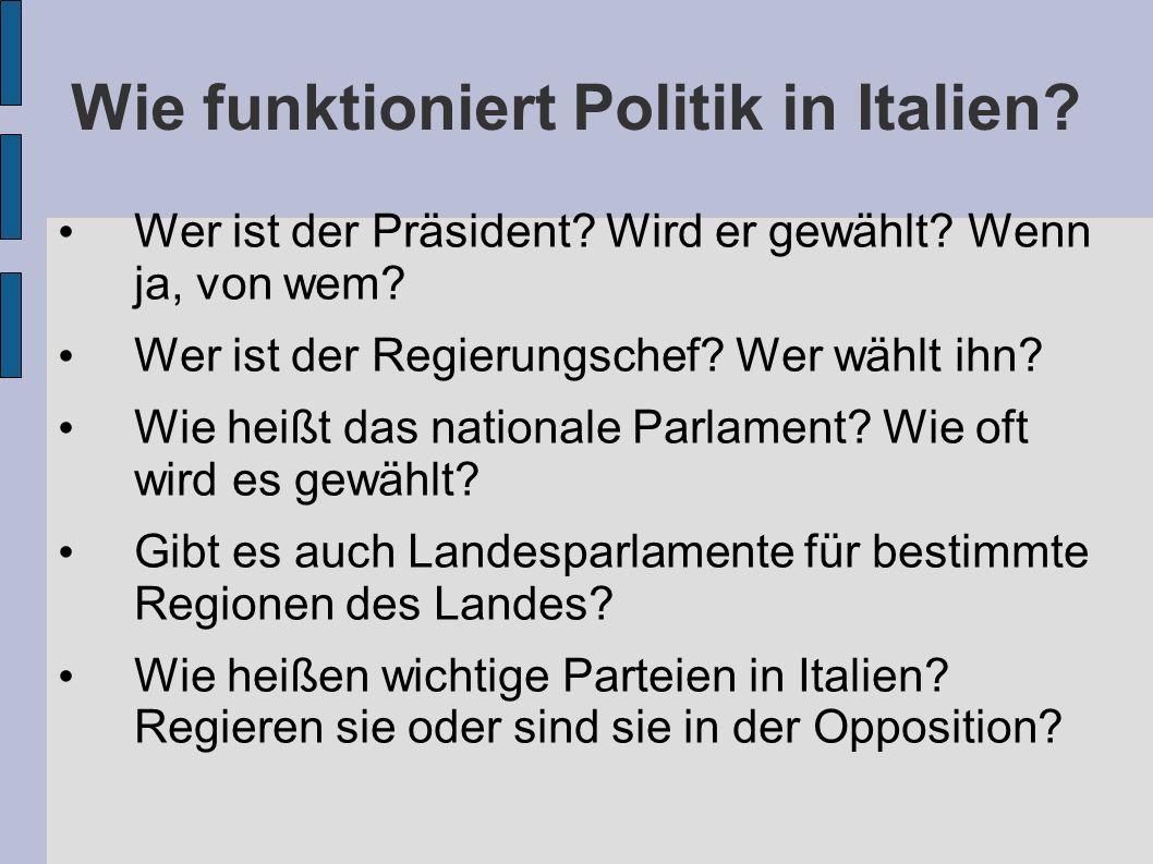 Wie funktioniert Politik in Italien