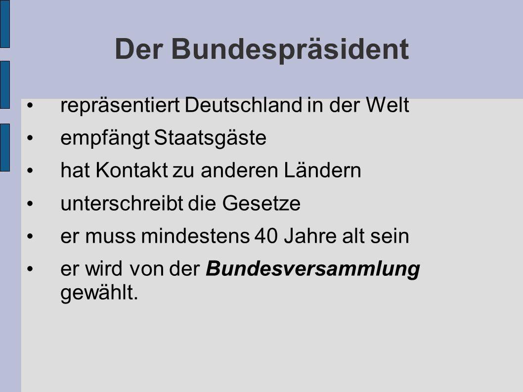 Der Bundespräsident repräsentiert Deutschland in der Welt