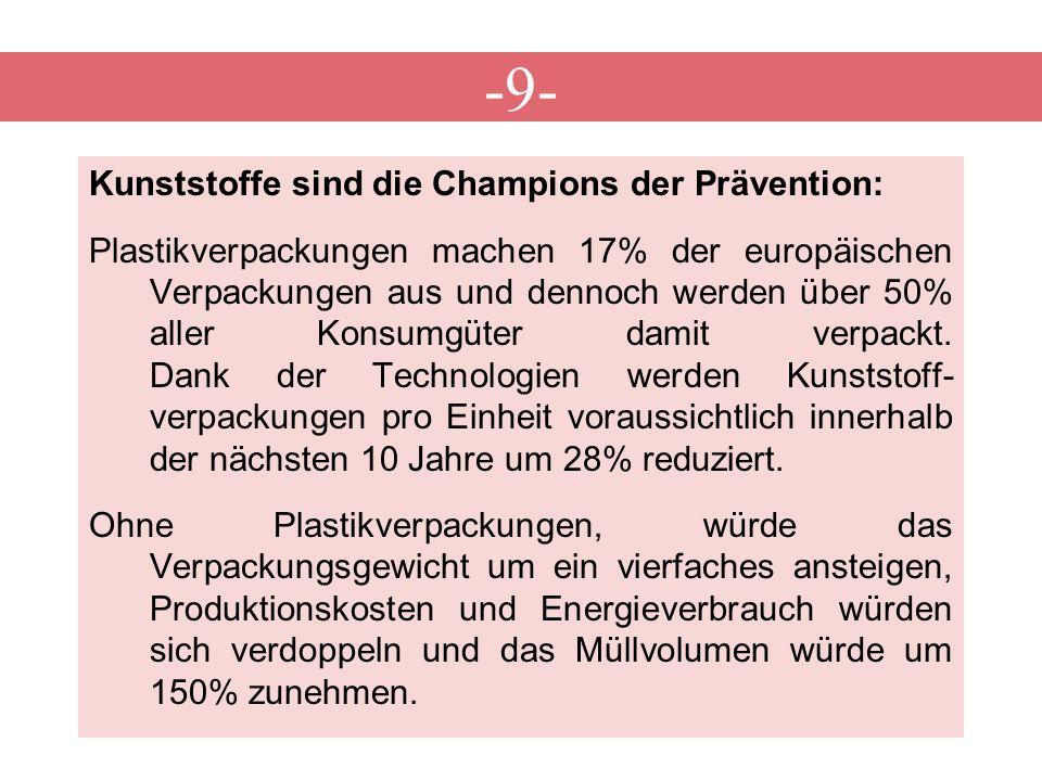 -9- Kunststoffe sind die Champions der Prävention: