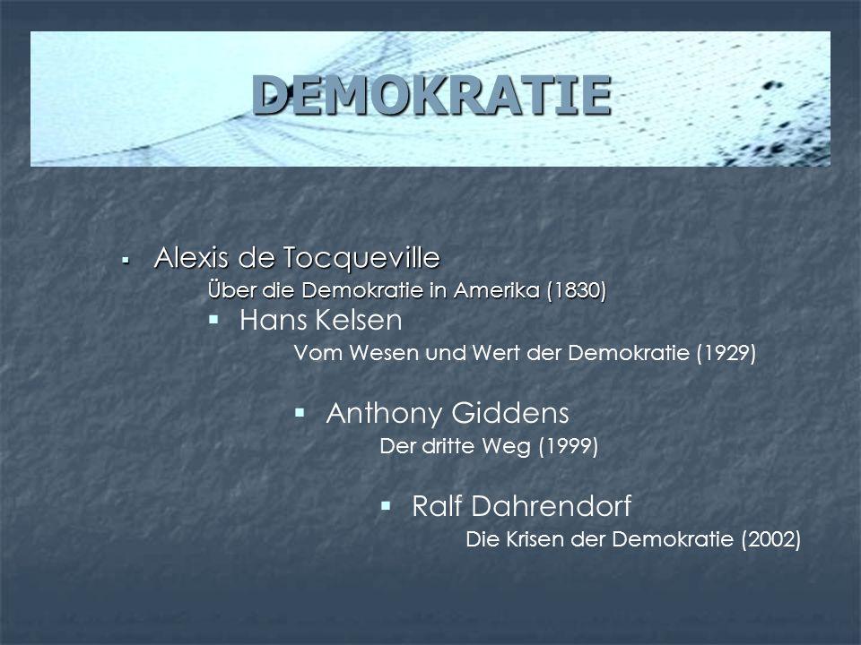 DEMOKRATIE Alexis de Tocqueville Hans Kelsen Anthony Giddens