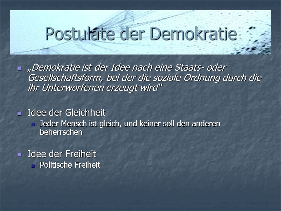 Postulate der Demokratie