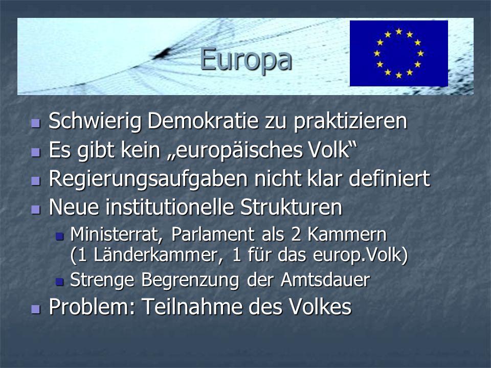 Europa Schwierig Demokratie zu praktizieren