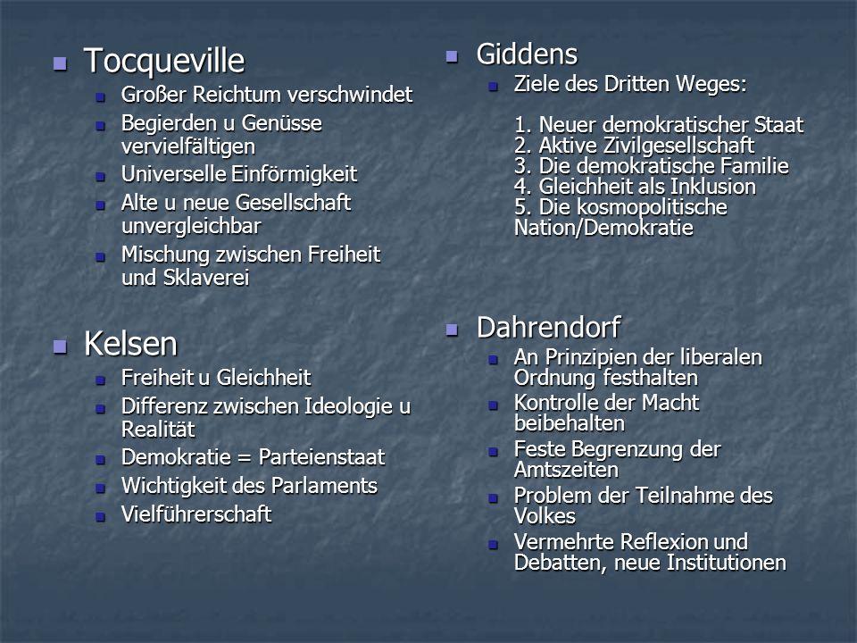 Tocqueville Kelsen Giddens Dahrendorf Großer Reichtum verschwindet
