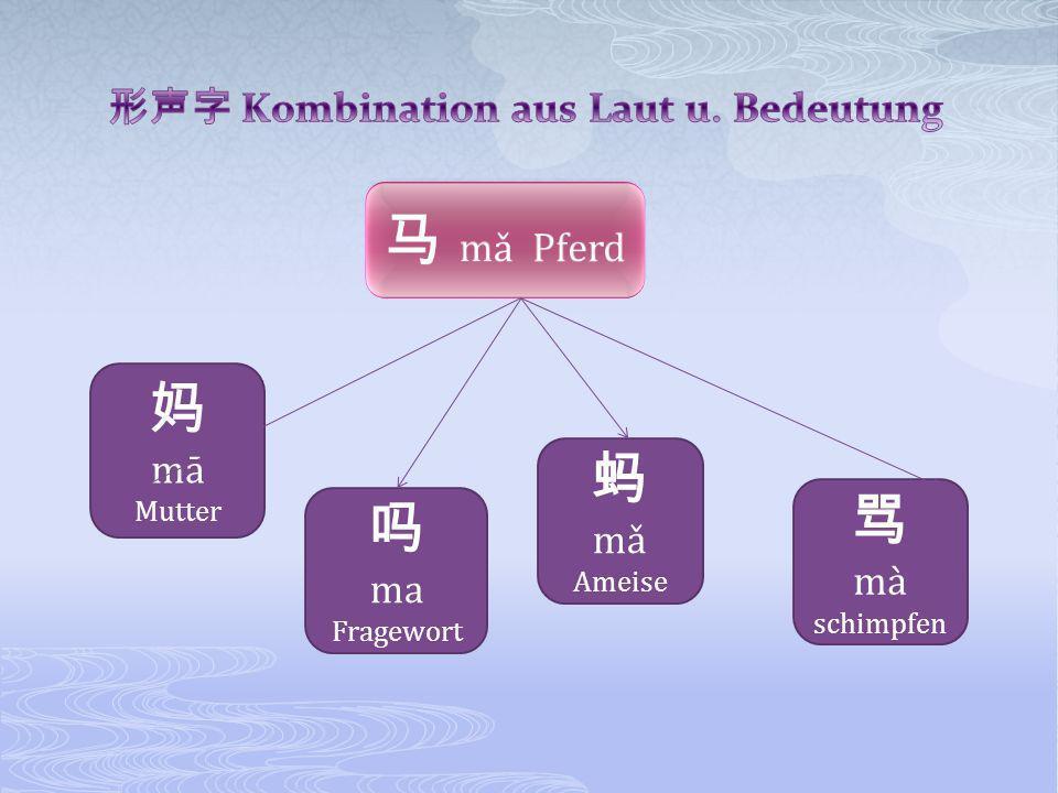 形声字 Kombination aus Laut u. Bedeutung