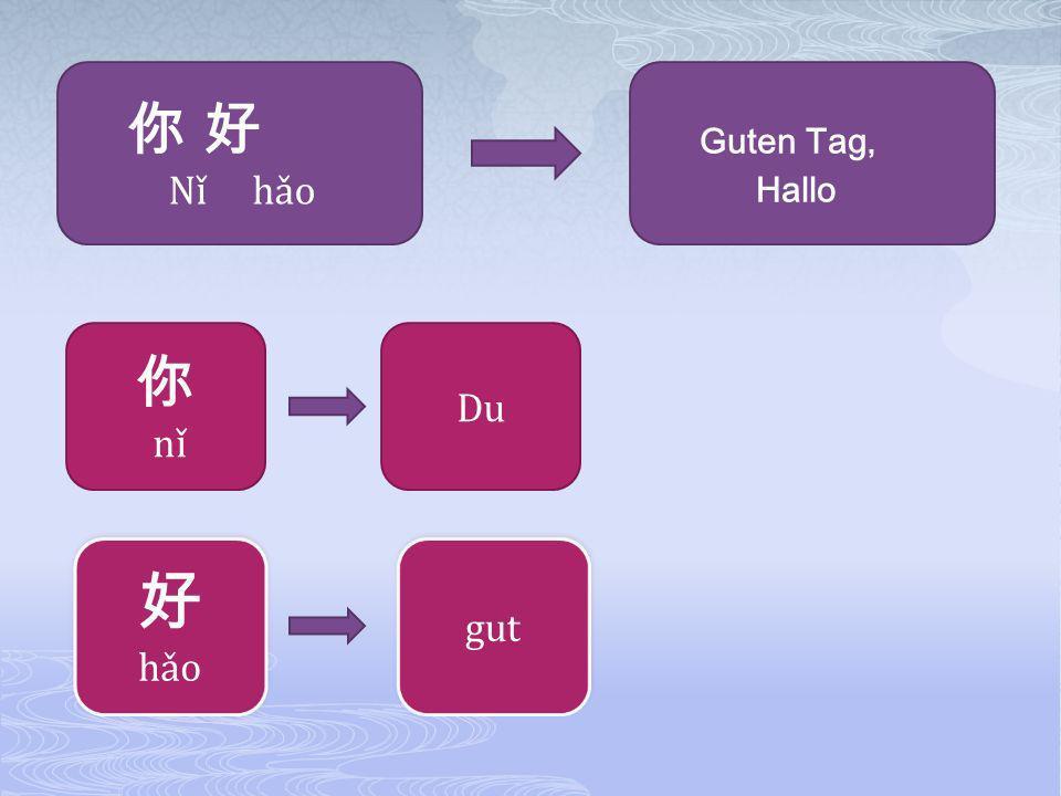你 好 Nǐ hǎo Guten Tag, Hallo 你 nǐ Du 好 hǎo gut