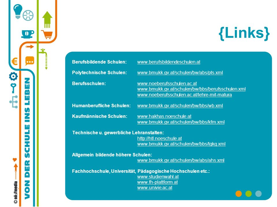 {Links} Berufsbildende Schulen: www.berufsbildendeschulen.at
