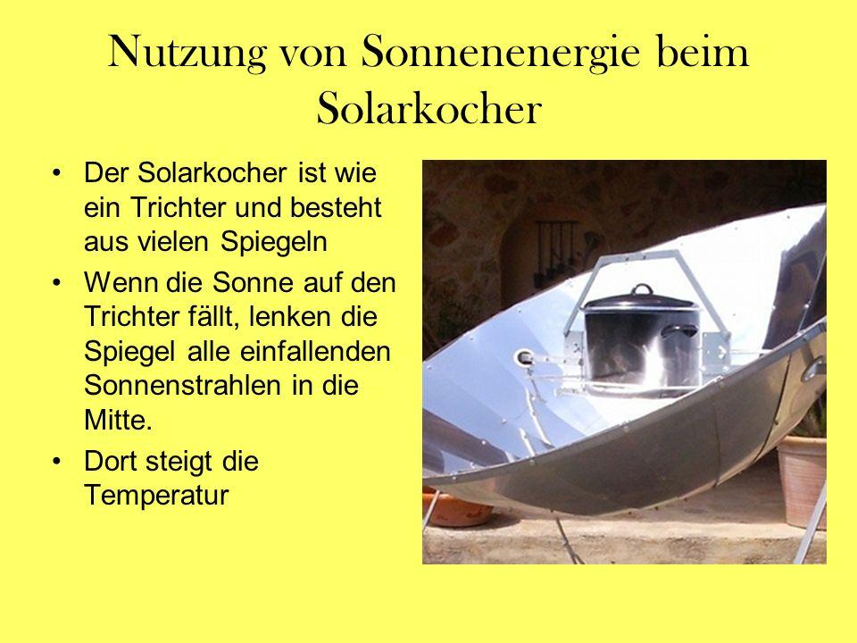 Nutzung von Sonnenenergie beim Solarkocher