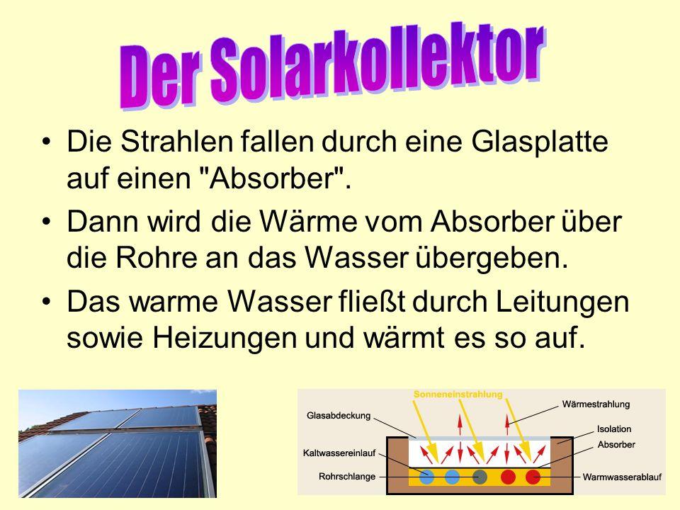 Der Solarkollektor Die Strahlen fallen durch eine Glasplatte auf einen Absorber .