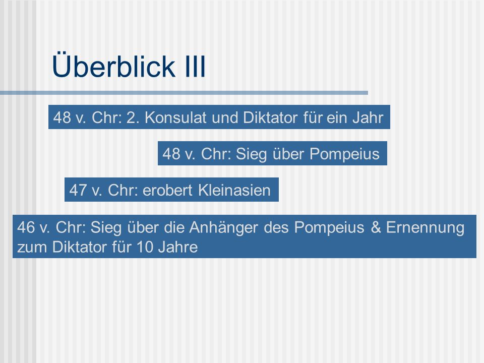Überblick III 48 v. Chr: 2. Konsulat und Diktator für ein Jahr
