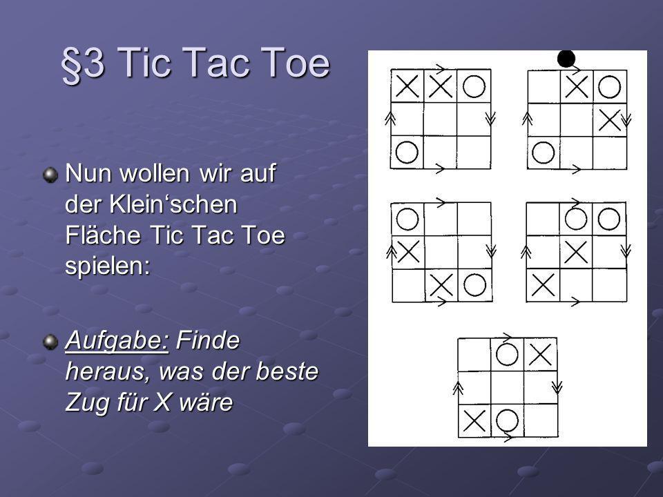 §3 Tic Tac Toe Nun wollen wir auf der Klein'schen Fläche Tic Tac Toe spielen: Aufgabe: Finde heraus, was der beste Zug für X wäre.