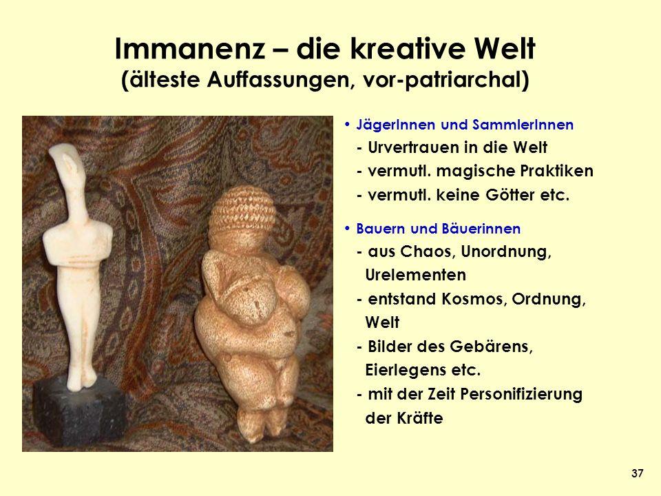 Immanenz – die kreative Welt (älteste Auffassungen, vor-patriarchal)
