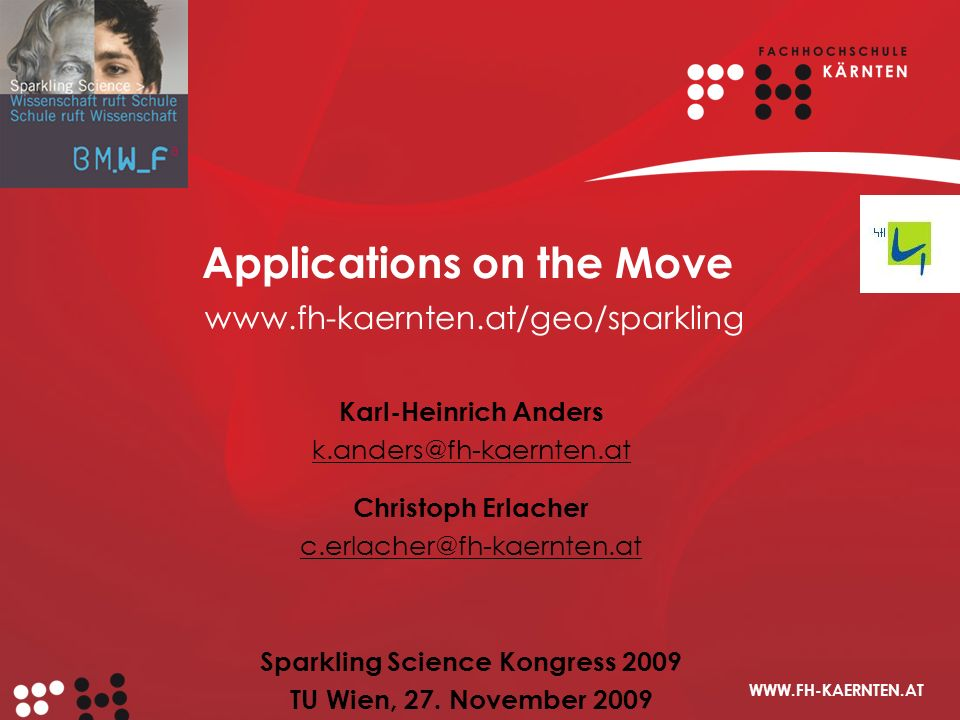 Applications on the Move www.fh-kaernten.at/geo/sparkling