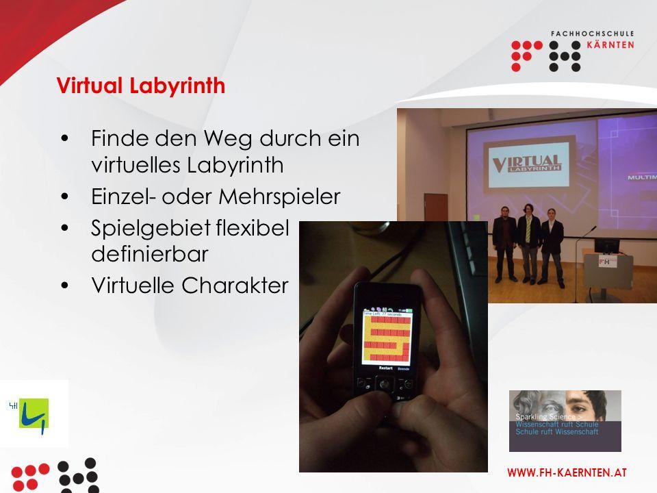 Virtual Labyrinth Finde den Weg durch ein virtuelles Labyrinth. Einzel- oder Mehrspieler. Spielgebiet flexibel definierbar.