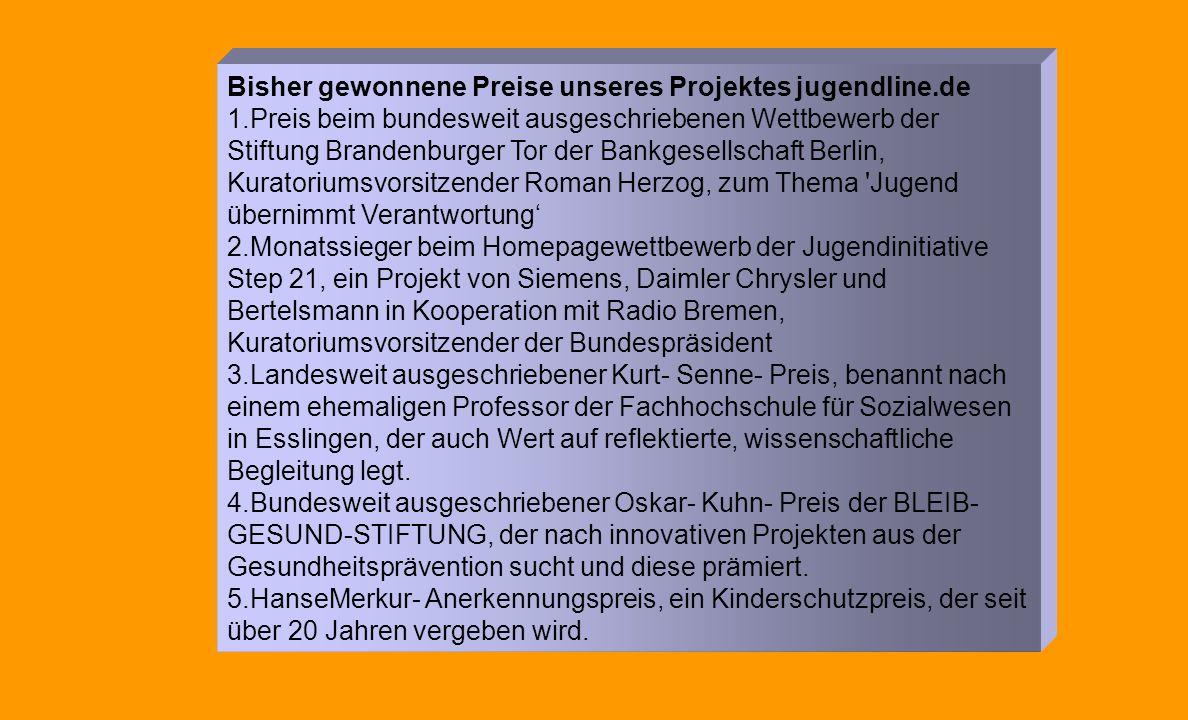 Bisher gewonnene Preise unseres Projektes jugendline.de