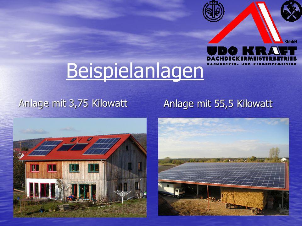 Beispielanlagen Anlage mit 3,75 Kilowatt Anlage mit 55,5 Kilowatt
