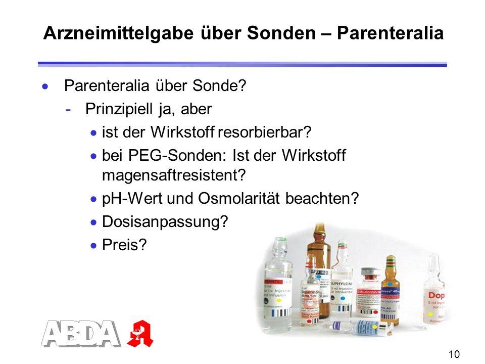 Arzneimittelgabe über Sonden – Parenteralia