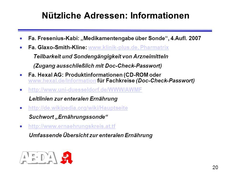 Nützliche Adressen: Informationen