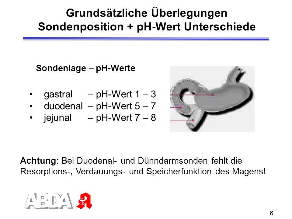 Grundsätzliche Überlegungen Sondenposition + pH-Wert Unterschiede