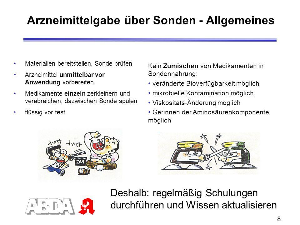Arzneimittelgabe über Sonden - Allgemeines