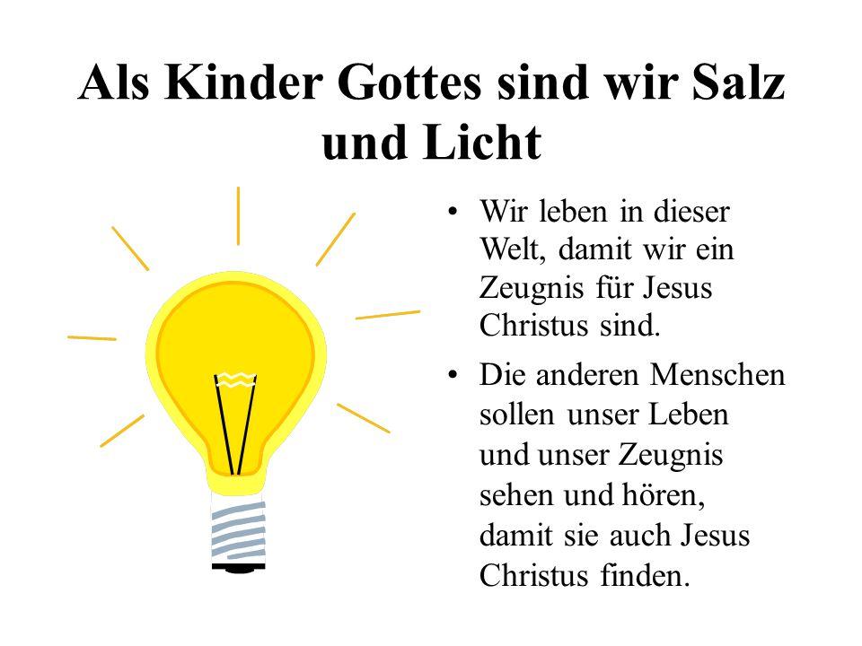 Als Kinder Gottes sind wir Salz und Licht