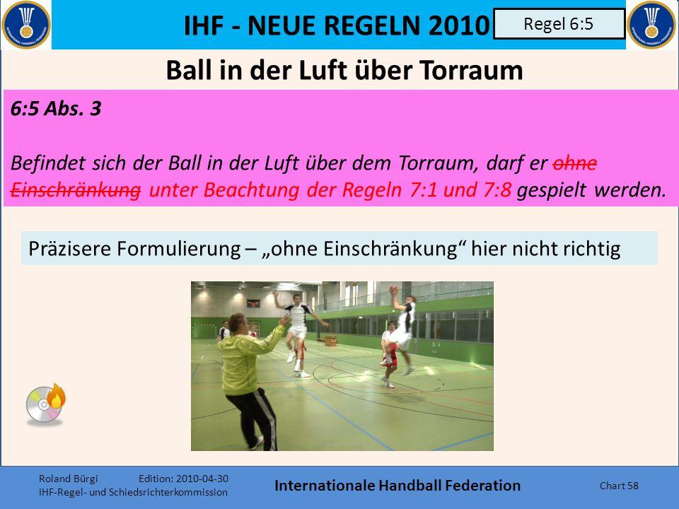 Ball in der Luft über Torraum Internationale Handball Federation