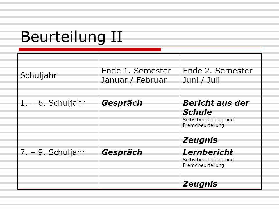 Beurteilung II Schuljahr Ende 1. Semester Januar / Februar