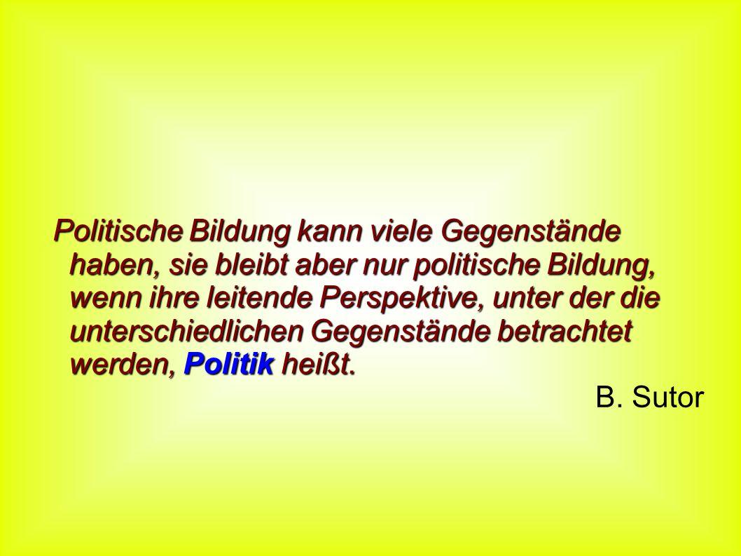 Politische Bildung kann viele Gegenstände haben, sie bleibt aber nur politische Bildung, wenn ihre leitende Perspektive, unter der die unterschiedlichen Gegenstände betrachtet werden, Politik heißt.