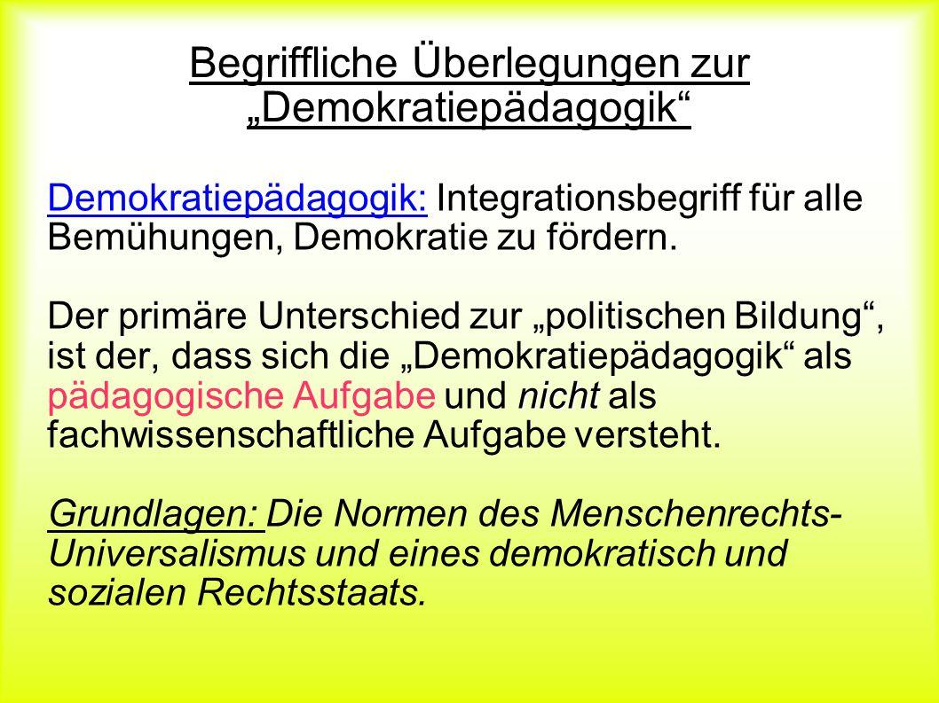 """Begriffliche Überlegungen zur """"Demokratiepädagogik"""