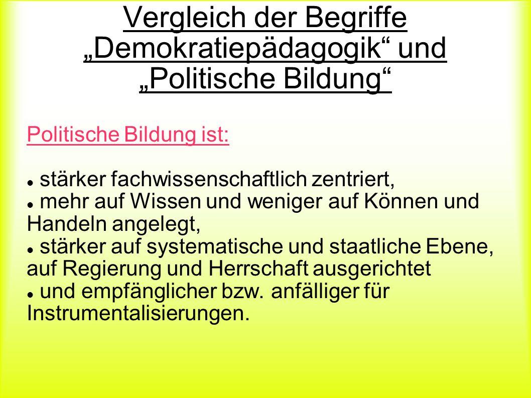"""Vergleich der Begriffe """"Demokratiepädagogik und """"Politische Bildung"""