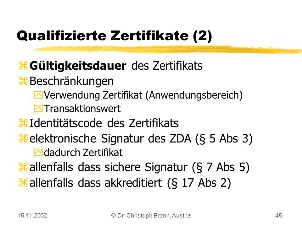 Qualifizierte Zertifikate (2)
