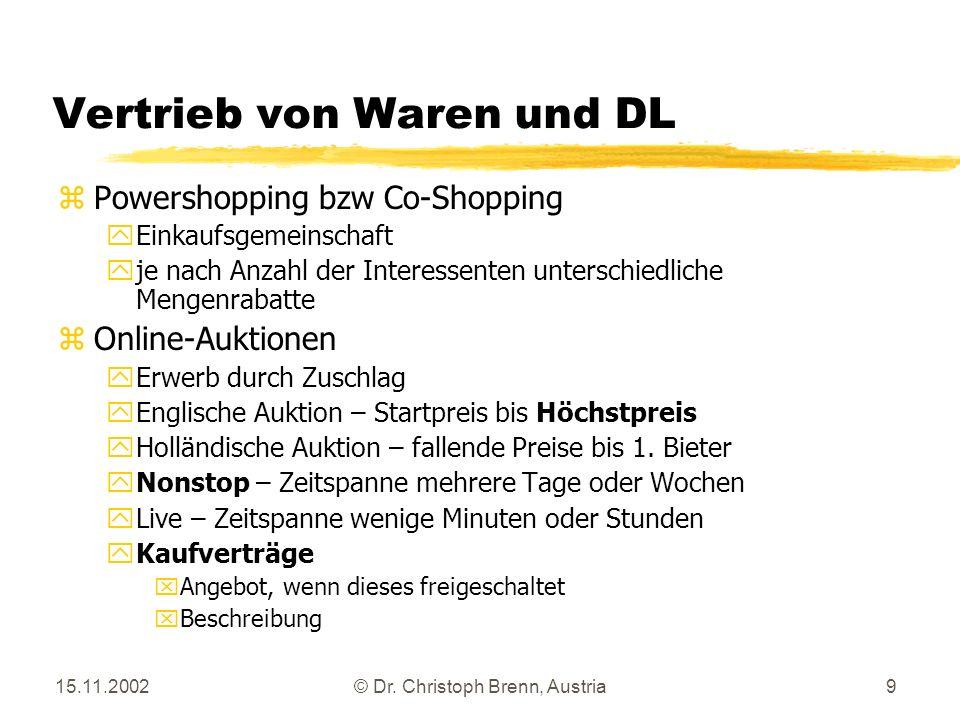Vertrieb von Waren und DL