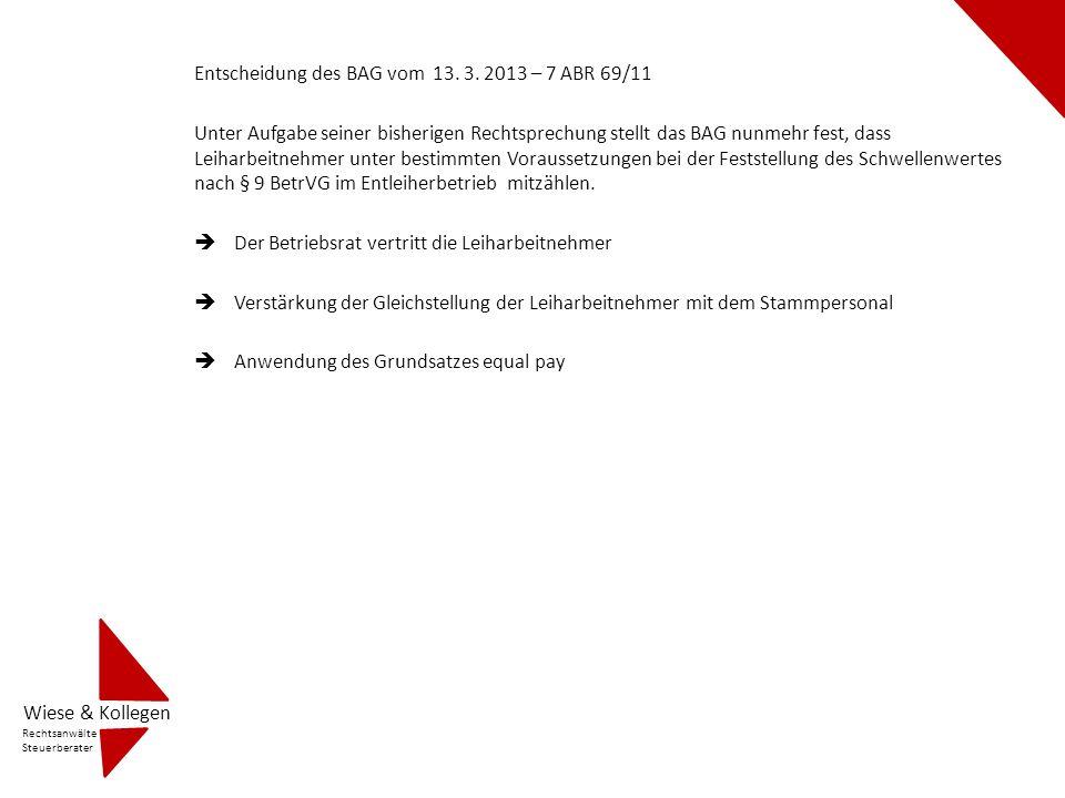 Entscheidung des BAG vom 13. 3. 2013 – 7 ABR 69/11