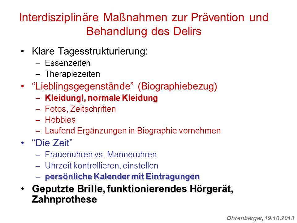 Interdisziplinäre Maßnahmen zur Prävention und Behandlung des Delirs